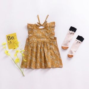 Other - Brand New Mustard Floral Dress Size 0-6 Months